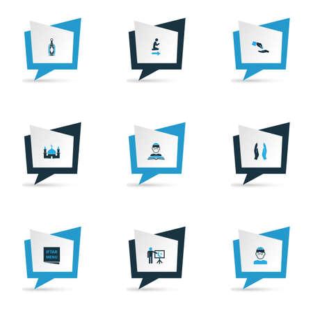 Set di icone colorate di Ramadan con menu, casa degli dei, assistenza finanziaria e altri elementi del luogo namaz. Illustrazione vettoriale isolato icone ramadan. Archivio Fotografico - 96892414