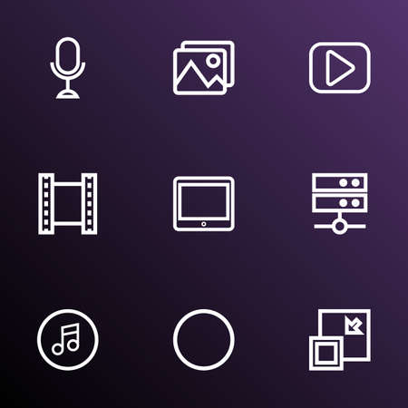 Multimedia icons line style set with microphone, media server, minimize and other play