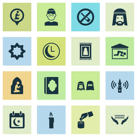 Religion icons set with muslim, adhaan, holy book and other koran   elements. Isolated vector illustration religion icons.