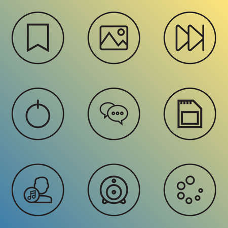 Media icons line style set with next, sd card, start and other composer   elements. Isolated  illustration media icons.