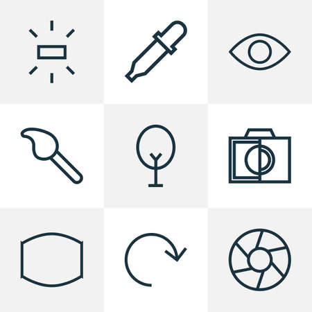 Image icons line style set with monitor, refresh, focus and other brush