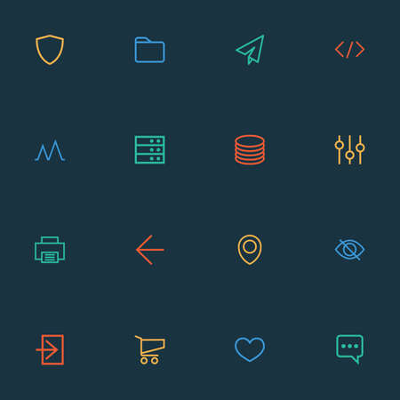 User icons line style set with map pin, tag, dossier and other send  elements. Isolated  illustration user icons. Banque d'images