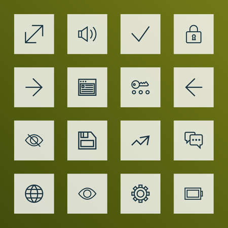 Interface icons line style set with earth, note, increase and other lock