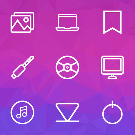 Media icons line style set with quarter, bookmark, jack and other screen