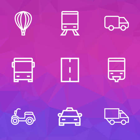 Shipment icons line style set with scooter, lorry, way and other train  elements. Isolated vector illustration shipment icons.