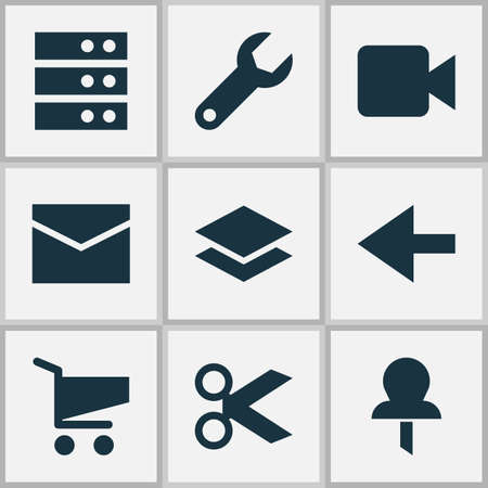 User icons set with server, repair, layer and other camcorder  elements. Isolated  illustration user icons.