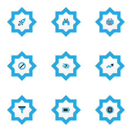Interface icons colored set with battery, filter, hide and other conceal  elements. Isolated vector illustration interface icons.