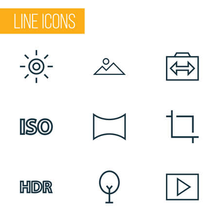 Image icons line style set with photography, multimedia, center focus and other panorama   elements. Isolated vector illustration image icons. Illustration