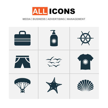 Sun icons set with shorts, gulls, suitcase and other sun cream  elements. Isolated  illustration sun icons.