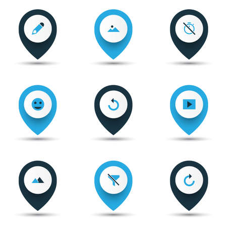 Picture icons colored set with chronometer, tag face, refresh right and other no filter  elements. Isolated  illustration picture icons. 版權商用圖片