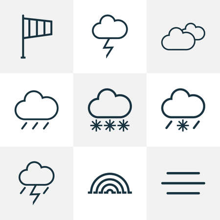 Climate icons line style set with lightning, cloudy sky, arc and other lightning   elements. Isolated vector illustration climate icons.