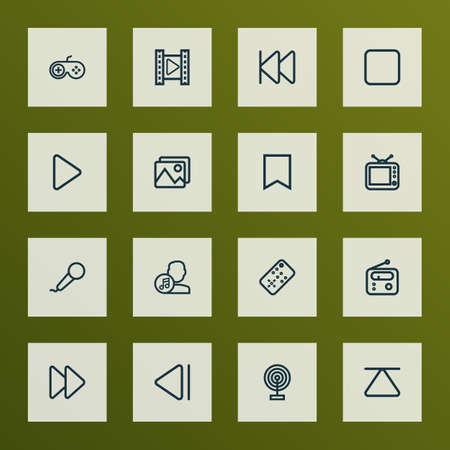 Music icons line style set with artist, stop, joystick and other composer elements. Isolated illustration music icons.