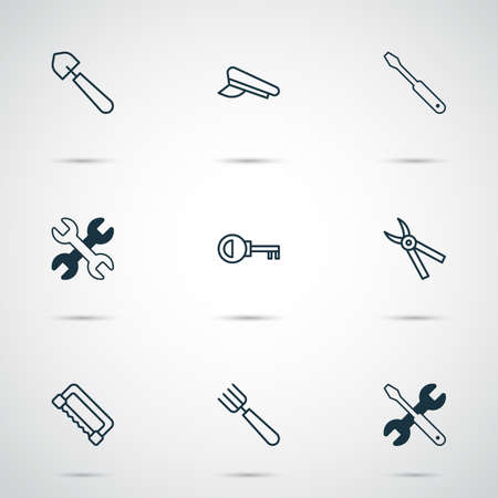 Instrument icons set with pincers, saw, shovel and other screwdriver with wrench elements.