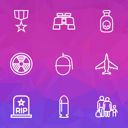 Army icons line style set with bullet, bio hazard, fighter and other fugitive elements. Isolated vector illustration army icons.