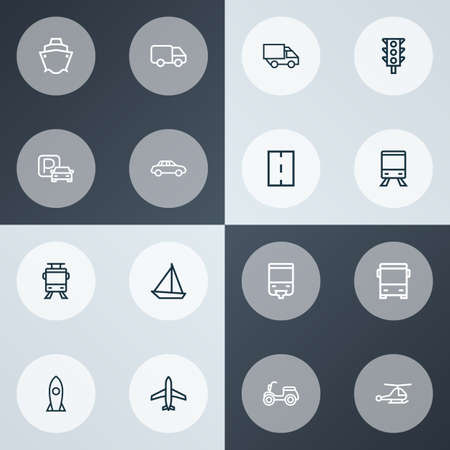 Shipment icons line style set with parking, missile, way and other train   elements. Isolated vector illustration shipment icons.