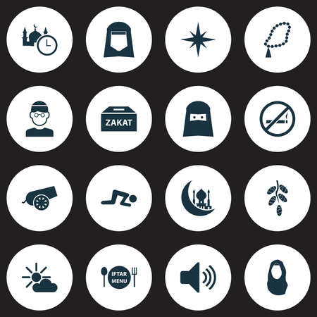 Holiday icons set with shawl, rosary, adhaan and other cigarette forbidden   elements. Isolated vector illustration holiday icons.