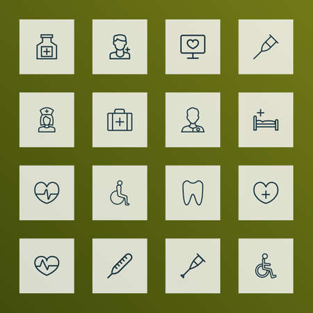 Drug icons line style set with chest, clinic, heartbeat and other life elements. Isolated illustration drug icons.