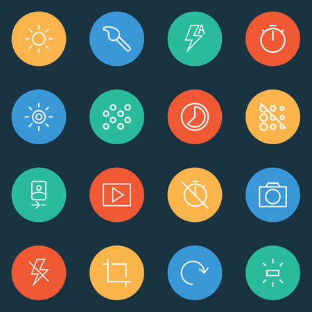 Image icons line style set with center focus, accelerated, blur off and other rotate  elements. Isolated vector illustration image icons. Illusztráció