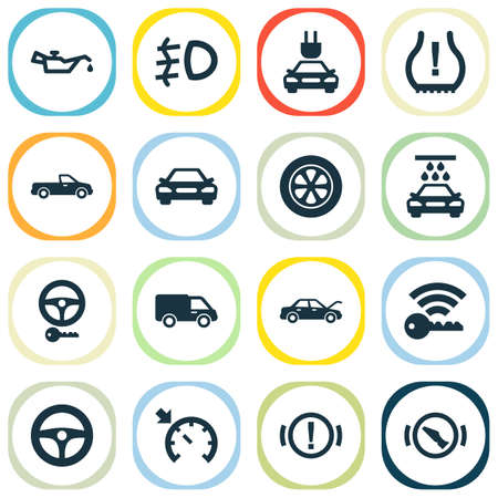 Car icons set with electric car, key, signal and other truck  elements. Isolated vector illustration car icons.