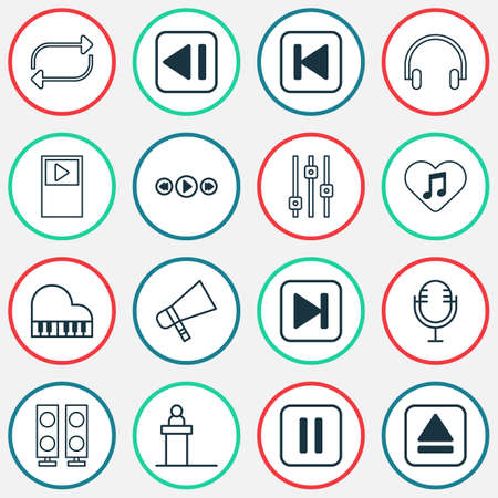 Audio icons set with fast forward song, megaphone, musical device and other last song