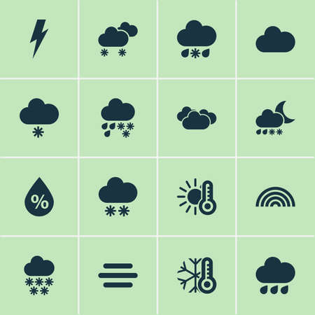 Weather icons set with temperature, light snow shower, snowfall and other voltage elements. Isolated vector illustration weather icons.