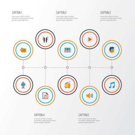 Music icons flat style set with play list, ear muffs, mic and other male  elements. Isolated vector illustration music icons.