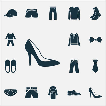 Clothes icons set with socks, pajamas, briefs and other swimming trunk