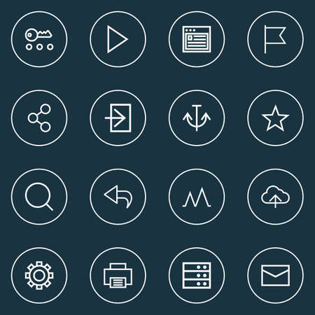 Interface icons line style set with action, social, options and other favorite elements.