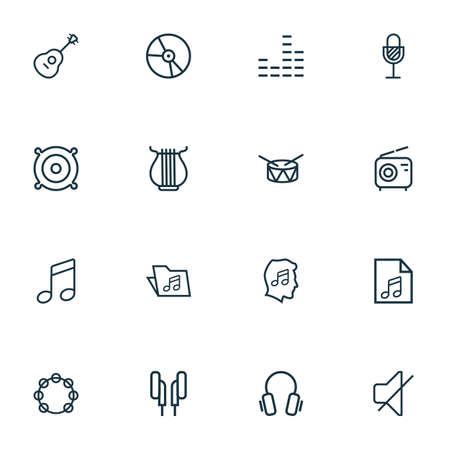 Multimedia icons line style set with earphones, speaker, tambourine and other equalizer elements. Isolated vector illustration multimedia icons. Ilustração