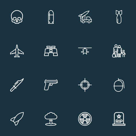 Combat icons line style set with fighter, nuclear explosion, bomb and other zoom glasses  elements. Isolated vector illustration combat icons. Vettoriali