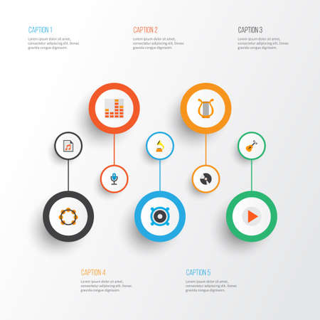 Audio icons flat style set with begin, frequency, samba and other acoustic  elements. Isolated vector illustration audio icons. Illustration