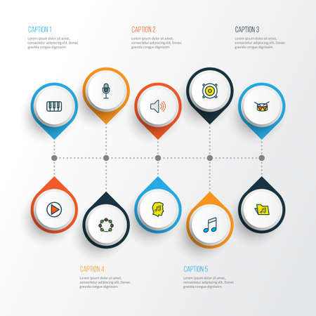Music icons colored line set with timbrel, speaker, fanatic and other lover  elements. Isolated vector illustration music icons. Ilustração