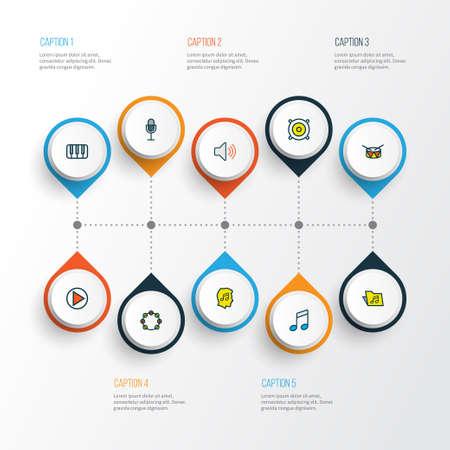 Set di icone colorate di musica con timbrel, speaker, fanatici e altri elementi amante. Icone di musica di illustrazione vettoriale isolato. Archivio Fotografico - 99343438
