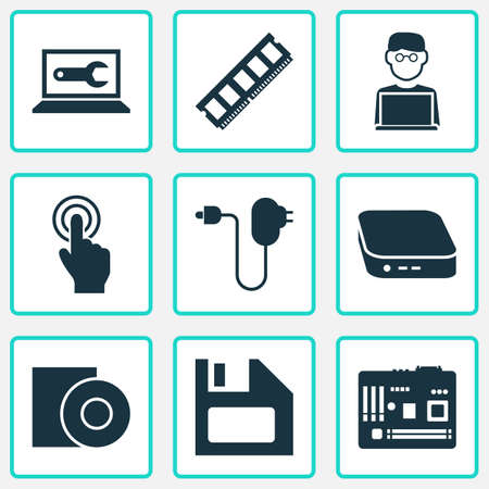 Digital icons set with man with laptop, floppy disk, computer repair and other plug