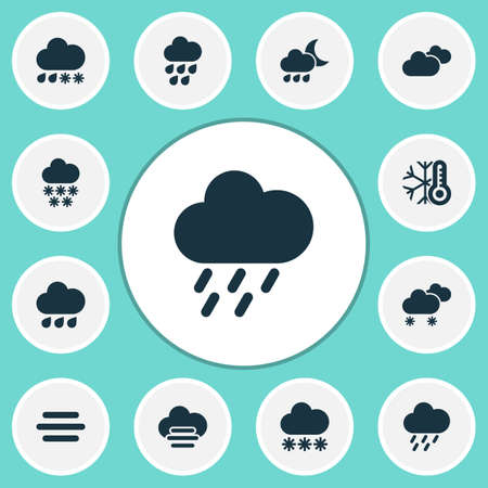 Air icons set with misty and cloudy, weather, heavy rain snowy  elements. Isolated vector illustration air icons.