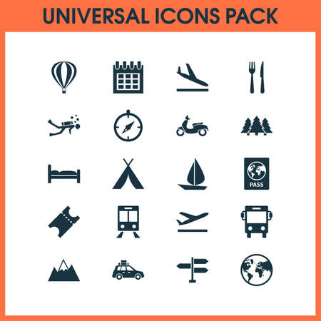 Journey icons set collection