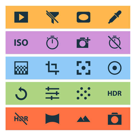 Photo icons set with photographing, pattern, tune and other filtration  elements. Isolated vector illustration photo icons. 向量圖像