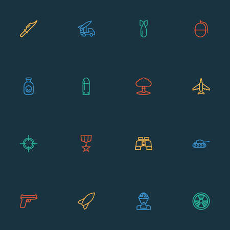 Battle icons line style set with bomb, sniper, poison and other target    elements. Isolated vector illustration battle icons. Illustration