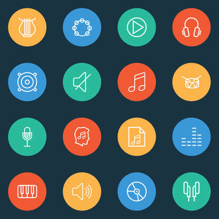 Audio icons line style set with tambourine, piano, drum and other headphones   elements. Isolated vector illustration audio icons. Illustration