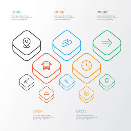 Direction icons line style set with train, way in, steps up and other autobus