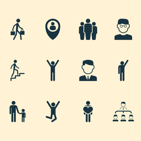 People icons set with climbing stairs, pupil, businessman and other feeling
