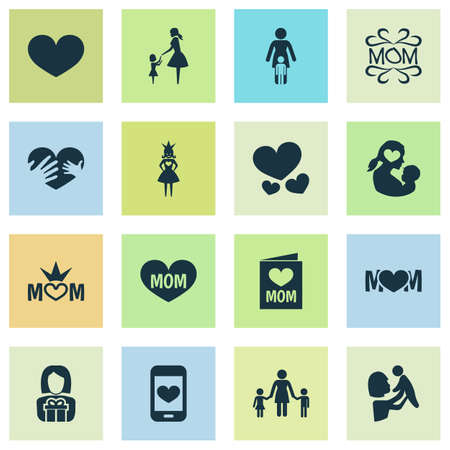 Mothers day icon design concept. Set of 16 such elements as mom, soul and protect. Beautiful symbols for heart, mother and love.