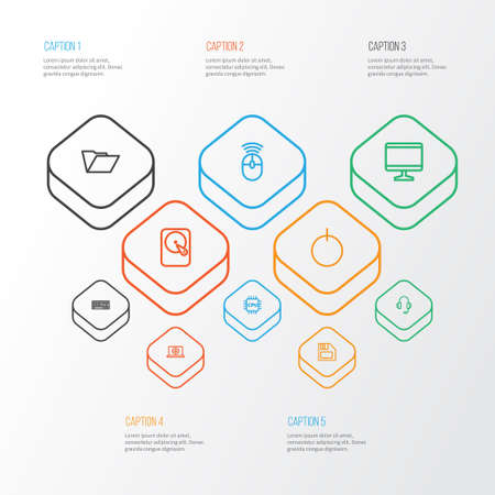 Computer icons line style set with microprocessor, keyboard, folder and other display    elements. Isolated vector illustration computer icons.