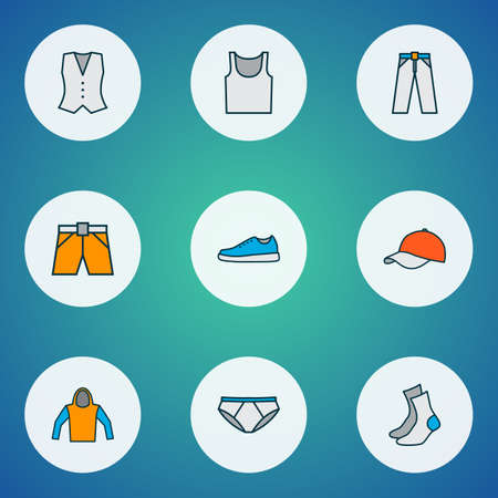 Dress icons colored line set with pants, singlet, underpants and other sneakers elements. Isolated vector illustration dress icons.