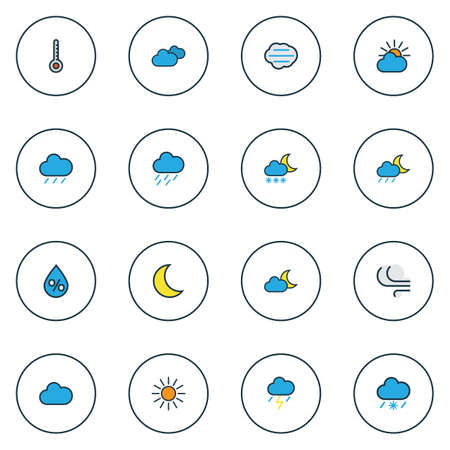 Climate icons colored line set with sunlight, raindrop, tempest and other twilight elements. Isolated illustration climate icons. Stock Photo