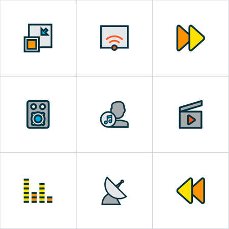 Media icons colored line set with audio mixer, fast forward, artist and other next