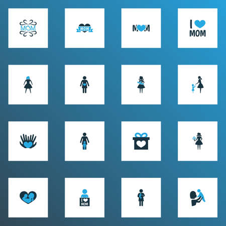 Mothers day icon colored design concept. Set of 16 such elements as loving, palms and newborn baby. Beautiful symbols for mother, woman and care. Иллюстрация