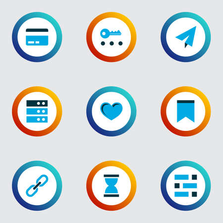 Interface icons colored set with link, send, dashboard and other statistic  elements. Isolated vector illustration interface icons.