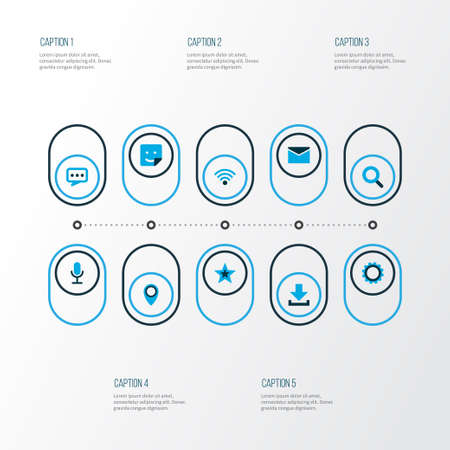 Internet icons colored set with letter, dialogue, smile and other location   elements. Isolated vector illustration internet icons.
