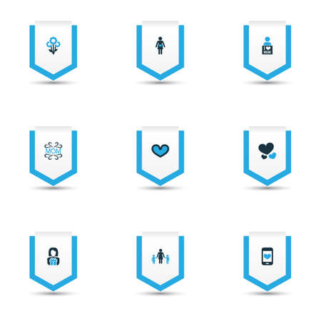 Mothers day icon colored design concept. Set of 9 such elements as flower, pregnancy and soul. Beautiful symbols for love, heart and soul.